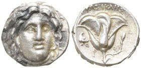 Islands off Caria. Rhodos. EPAΣIKΛHΣ, magistrate. 275-250 BC. Didrachm AR