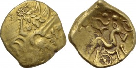 "BRITAIN. Atrebates and Regni. Uninscribed. GOLD Stater (Circa 60-20 BC). ""Selsey Cogwheel"" type."