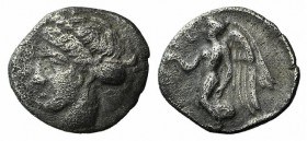Bruttium, Terina, c. 420-400 BC. AR Diobol (9.5mm, 0.68g, 6h). Female head l., hair bound in sphendone. R/ Nike flying l., holding wreath. Holloway & ...
