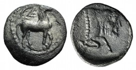 Sicily, Gela, c. 465-450 BC. AR Litra (10mm, 0.67g, 11h). Horse advancing r.; wreath above. R/ Forepart of man-headed bull r. Jenkins, Gela, Group III...