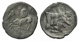 Sicily, Gela, c. 430-425 BC. AR Litra (11.5mm, 0.51g, 10h). Warrior on horseback l., holding shield R/ Forepart of man-headed bull r. Jenkins, Gela 40...
