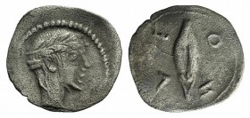 Sicily, Leontini, c. 450-440 BC. AR Litra (11mm, 0.42g, 12h). Diademed head of nymph(?) r. R/ Barley grain. SNG ANS 263; HGC 2, 689. Slight porosity, ...
