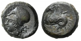Sicily, Syracuse, 400-390 BC. Æ Hemilitron (17mm, 6.36g, 12h). Head of Athena l., wearing Corinthian helmet decorated with snake. R/ Hippocamp l. CNS ...