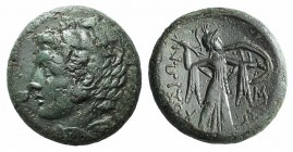 Sicily, Syracuse. Pyrrhos (278-276 BC). Æ (22mm, 9.96g, 3h). Head of Herakles l., wearing lion-skin. R/ Athena Promachos advancing r., holding thunder...