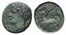Sicily, Syracuse. Hieron II (275-215 BC). Æ (14mm, 3.16g, 12h), c. 269-240 BC. Head of Artemis (or Arethusa) l., hair bound in ampyx and sphendone; po...