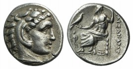 "Kings of Macedon, Alexander III ""the Great"" (336-323 BC). AR Drachm (16mm, 4.25g, 9h). Abydos, c. 325-323. Head of Herakles r., wearing lion skin. R/ ..."