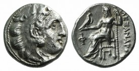 "Kings of Macedon, Alexander III ""the Great"" (336-323 BC). AR Drachm (15.5mm, 4.29g, 12h). Kolophon, c. 310-301. Head of Herakles r., wearing lion skin..."