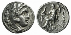 "Kings of Macedon, Alexander III ""the Great"" (336-323 BC). AR Drachm (17mm, 4.27g, 12h). Kolophon, c. 310-301. Head of Herakles r., wearing lion skin. ..."