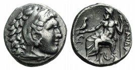Kings of Macedon, Philip III (323-317 BC). AR Drachm (15mm, 4.21g, 1h). In the name of Alexander III. Lampsakos. Head of Herakles r., wearing lion ski...