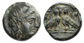 Thrace, Agathopolis, c. 300 BC. Æ (10mm, 1.71g, 12h). Young male head wearing tainia r. R/ AΓΑΘΟ, Double-bodied owl standing facing. Head, HN p. 258; ...