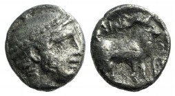 Thrace, Ainos, c. 427/6-425/4 BC. AR Diobol (9mm, 1.04g, 12h). Head of Hermes r., wearing petasos. R/ Goat standing r.; vine tendril before. May, Aino...