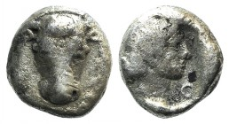 Phokis, Federal Coinage, c. 457-446 BC. AR Hemidrachm (12mm, 2.55g, 12h). Facing bull's head. R/ Head of Artemis r. within incuse square. Williams 188...