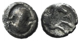 Boiotia, Tanagra, c. 400-350 BC. AR Obol (8mm, 0.46g). Boiotian shield. R/ Forepart of horse r.; all within incuse concave circle. BCD Boiotia 298a; S...