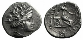 Euboia, Histiaia, 3rd-2nd centuries BC. AR Tetrobol (13mm, 1.92g, 9h). Wreathed head of the nymph Histiaia r. R/ Nymph seated r. on stern of galley; m...