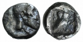 Attica, Athens, c. 454-404 BC. AR Hemiobol (6mm, 0.40g, 11h). Helmeted head of Athena r. R/ Owl standing r., head facing; olive sprig to l.; all withi...