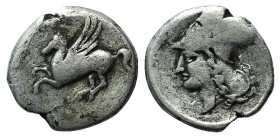 Corinth, c. 405-345 BC. AR Stater (21mm, 7.10g, 12h). Pegasos flying l. R/ Helmeted head of Athena l. Ravel 504. Fine