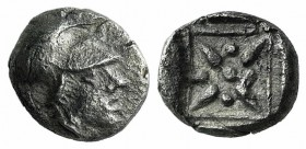 Asia Minor, Uncertain mint, 5th century BC. AR Hemiobol (5mm, 0.41g). Helmeted head of Athena r. R/ Star of four rays; pellets between rays; all withi...