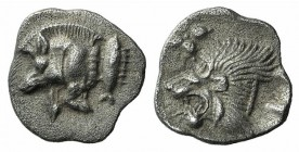 Mysia, Kyzikos, c. 450-400 BC. AR Hemiobol (7mm, 0.41g, 3h). Forepart of boar l.; tunny to r. R/ Head of lion l.; star to l.; all within incuse square...