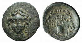 Troas, Alexandria, c. 164-135 BC. Æ (19mm, 3.25g, 12h). Laureate, facing head of Apollo. R/ Lyre within laurel wreath. Bellinger A144; SNG Copenhagen ...