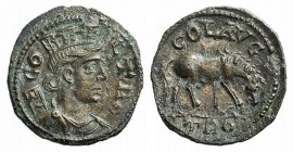 Troas, Alexandria. Pseudo-autonomous issue, c. mid 3rd century AD. Æ (22mm, 5.39g, 12h). Turreted and draped bust of Tyche r., with vexillum over shou...