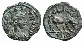 Troas, Alexandria. Pseudo-autonomous issue, c. mid 3rd century AD. Æ (21mm, 4.91g, 6h). Turreted and draped bust of Tyche r., with vexillum over shoul...