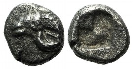 Troas, Kebren, late 6th-early 5th centuries BC. AR Hemiobol (5mm, 0.30g). Head of ram l. R/ Quadripartite incuse square. Klein 815; SNG München 282. V...