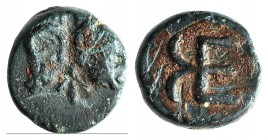 Troas, Kebren, c. 420-412 BC. Æ (9mm, 1.11g, 9h). Confronted ram's heads. R/ KE monogram. SNG München 283; SNG Copenhagen 260. Green patina, Good Fine...
