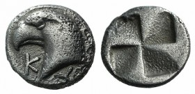 Aeolis, Kyme, c. 450-400 BC. AR Hemiobol (6mm, 0.48). Head of eagle l.; retrograde K to l. R/ Quadripartite incuse square. SNG von Aulock 1623. Slight...