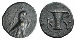 Aeolis, Kyme, c. 350-250 BC. Æ (12mm, 1.60g, 12h). Uncertain magistrate. Eagle standing r. R/ K-Y, One-handled vase. Cf. SNG Copenhagen 62-6. Brown pa...