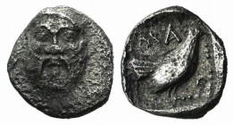 Lesbos, Methymna, c. 500/480-460 BC. AR Tetartemorion (5mm, 0.18g, 6h). Facing head of Silenos. R/ Cock standing r. within dotted square border within...