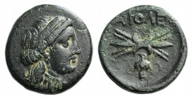 Lesbos Koinon, Methymna, c. 330-280 BC. Æ (14mm, 3.78g, 3h). Female head r., wearing stephane, earring and necklace. R/ Thunderbolt; grapes below. BMC...