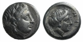 Lesbos, Mytilene, c. 400-350 BC. AR Diobol (8mm, 1.33g, 1h). Laureate head of Apollo r. R/ Female head r.; thunderbolt behind. BMC 9; HGC 6, 1037. Ton...