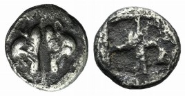 Lesbos, Unattributed early mint, c. 500-450 BC. BI 1/24 Stater (7mm, 0.54g). Confronted boars' heads. R/ Four-part incuse square. HGC 6, 1071. VF