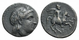 Ionia, Larissa, early 3rd century BC. Æ (17mm, 3.95g, 5h). Laureate head of Apollo r. R/ Horseman riding r., holding couched spear. SNG von Aulock 202...