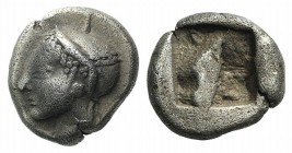 Ionia, Phokaia, c. 521-478 BC. AR Diobol (9mm, 1.33g). Archaic female head l. R/ Quadripartite incuse square. Klein 452-3. Toned, VF