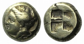 Ionia, Phokaia, c. 387-326 BC. EL Hekte – Sixth Stater (8mm, 2.53g). Head of Artemis l., with quiver over shoulder; [below, seal l.] R/ Quadripartite ...