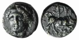 Ionia, Phygela, c. 350-300 BC. Æ (6mm, 0.55g, 12h). Head of Artemis Munychia facing slightly l. R/ Bull butting r. SNG Kayhan 550. VF