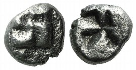 Ionia, Uncertain, c. 625-600 BC. AR Diobol - 1/12 Stater (7mm, 1.11g). Swastika, pellets around. R/ Incuse swastika pattern. Unpublished in the standa...