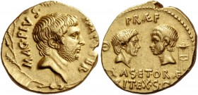 Sextus Pompeius. Aureus, Sicily 37-36, AV 7.86 g. MAG·PIVS· – IMP·ITER Bearded and bare head of Sextus Pompeius r.; all within oak wreath. Rev. PRAEF ...