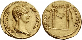 Antonia, wife of Nero Claudius Drusus. Aureus circa 41-45, AV 7.79 g. ANTONIA – AVGVSTA Draped bust r., wearing crown of corn ears. Rev. SACERDOS -– D...