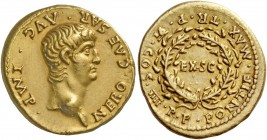 Nero augustus, 54 – 68. Aureus 59-60, AV 7.68 g. NEROvCAESAR·AVG·IMP Bare head r. Rev. PONTIF·MAX·TR·P VI·COS· IIII·P·P around laurel-wreath, within w...