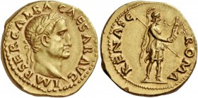 Galba, 68 – 69. Aureus July 68-January 69, AV 7.31 g. IMP SER GALBA CAESAR AVG Laureate head r. Rev. ROMA RENASC Roma, helmeted and in military attire...