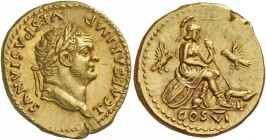 Titus caesar, 69 – 79. Aureus 77-78, AV 7.34 g. T CAESAR IMP – VESPASIANVS Laureate head r. Rev. Roma seated r. on shields, l. foot over helmet, holdi...