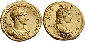Hadrian, 117 – 138. Aureus 118, AV 7.34 g. IMP CAESAR TRAIAN HADRIANVS AVG Laureate and cuirassed bust r., with drapery on l. shoulder and aegis on br...