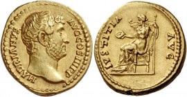 Hadrian, 117 – 138. Aureus 134-138, AV 7.29 g. HADRIANVS – AVG COS III P P Bare head r. Rev. IVSTITIA – AVG Iustitia seated l., holding patera and sce...