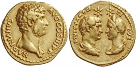 Hadrian, 117 – 138. Aureus after 138, AV 7.09 g. HADRIANVS – AVG COS III P P Bare bust r., with drapery on l. shoulder. Rev. DIVIS PAREN – TI – BVS Co...