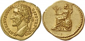Antoninus Pius, 138 – 161. Aureus 145-161, AV 7.17 g. ANTONINVS AVG – PIVS P P TR P COS IIII Laureate head l. Rev. Roma seated left holding palladium ...