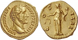 Antoninus Pius, 138 – 161. Aureus 148-149, AV 7.25 g. ANTONINVS AVG – PIVS P P TR.P XII Bareheaded bust r., with drapery on l. shoulder. Rev. C – OS –...