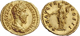 Lucius Verus, 161 – 169. Aureus 166, AV 7.26 g. L VERVS AVG – ARM PARTH MAX Laureate, draped and cuirassed bust r. Rev. PAX AVG TR – P VI COS II Pax s...