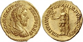 Commodus, sole reign 180 – 192. Aureus 187-188, AV 7.28 g. M COMM ANT P – FEL AVG BRIT Laureate, draped and cuirassed bust r. Rev. VIRTVT AVG P M TR P...